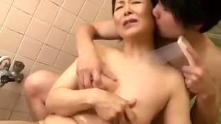 Elderly and super-naughty Asian mature fuckslut finger penetrated