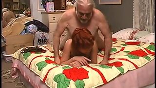 Furry boyfrend slaps breasty red-haired in bed