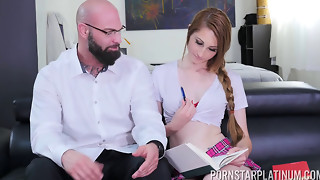Nina Skye can't fight back her teacher's rock hard chisel