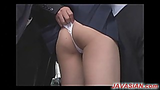 Asian college girl toyed in bus