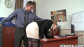 Bad assistant penalized by slapping and rectal bang-out