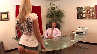 Handsome platinum-blonde maid gargling spear