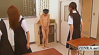 Subtitle CFNM naturist Japan college girl taunt