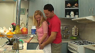 Marvelous light-haired nubile getting drilled in the kitchen