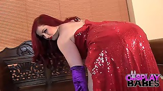 Costume play Honies Huge-boobed Jessica Rabbit face torn up