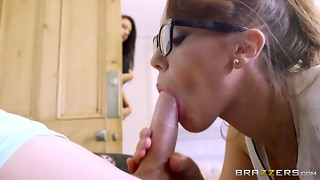 Mother and stepdaughter share youthful dude - Brazzers