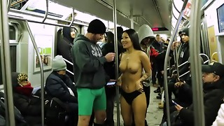 No Trousers Subway Rail Contest with Asa Akira and Subway Creatures