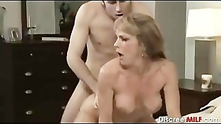 Mature Mummy with youthfull dude in bedroom