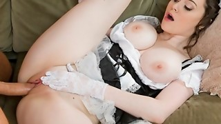 Insatiable French maid with brilliant natural-tits has numerous ejaculations