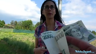Public Agent Cash persuades slender cutie to juggle her vag on agents bone