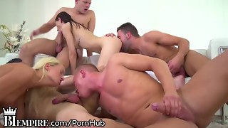 BiEmpire 4 Wolves and 2 Damsels Love a Bisex Assfuck Orgy!