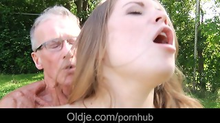Large elderly man sausage pounds ultra-cute a highly youthful appetizing damsel