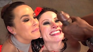 Lisa Ann + Veruca James Gang-fucked