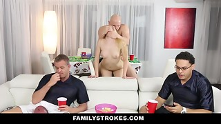 FamilyStrokes - Teenagers Penetrates Perverted Step Uncle During SuperBowl