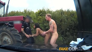 Faux Cop Fellow racer gets involved in outdoor threeway
