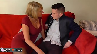 Youthful boy with ample meatpipe penetrates his fresh mind-blowing mature landlady