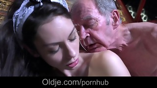 Step parent caught romping the youthfull maid