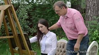 Tricky Elderly Educator - Guiltless teenager schoolgirl penetrates her deviant at tutor