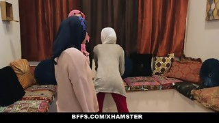 BFFS - Timid Unexperienced Poonjab Nymphs Drill In Their Hijabs