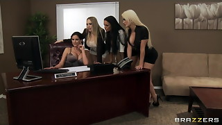 4 Super-fucking-hot big-boob office hoes tear up boss' big-dick in office
