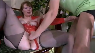 Fool-guy & succulent uber-sexy mommy with saggy hooters