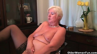 64 yr older and Brit grannie Sandie fondles her older snatch