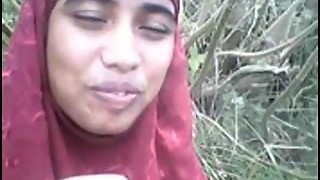 desi Bangla muslim Hijab cutie in woods