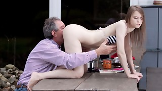 Ideal Innate Nubile Penetrated by Grandfather Outside And Guzzles
