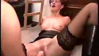 youthful gal handballing her mature neighbor.F70
