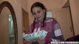 Pretty Czech schoolgirl trades orgy for cash