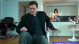 Plump brit housewife ravaged in kitchen