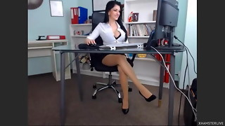 Stellar gal in her office