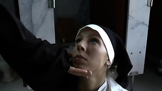 Bossy nuns choking cockslut
