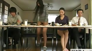Subtitled weird Asian bottomless no undies family