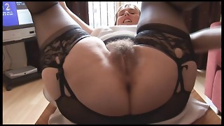Wooly chesty mature nymph in slide and girdle does upskirt and