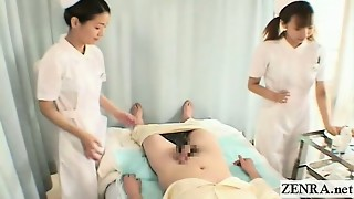Subtitles CFNM 2 Chinese nurses hand job with pop-shot