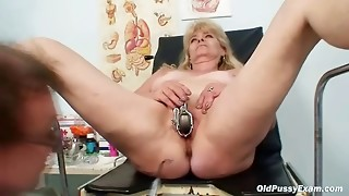 Towheaded grannie nasty vulva examination with clyster
