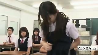 Subtitled CFNM Japan naturist college girl mummy schoolteacher unwraps