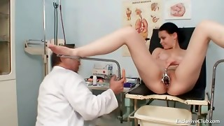 Big-titted honey obgyn check-up by muddy old doc
