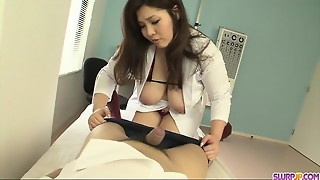 Dirty and huge-titted nurse providing head and plunging it up her