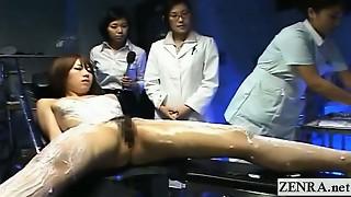Subtitled CFNF Asian model lesbo rubdown by nurses