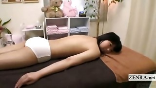 Subtitled timid bra-less Chinese college girl lube rubdown