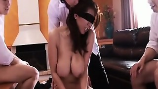 Subtitled blinded Asian wifey bawdy gangbang