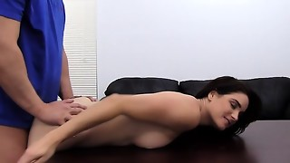 Big-titted Dark-haired Castings on Audition Sofa