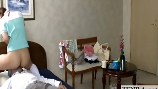Bottomless Japan nurse eaten out by super-naughty senior patient