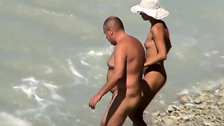 Thin wifey porked on hidden cam beach by ample spouse