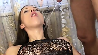 Brown-haired fledgling in stocking bj's the pee from her