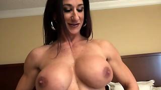 Chick Bodybuilder Unwraps and Milks Her Fat Love button