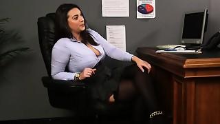 Huge-chested british hidden cam taunts cfnm slave from desk