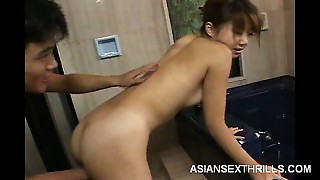 Japanese Going knuckle deep in the Bathroom